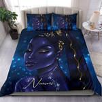 Galaxy Blue Light Black Girl Custom Name Duvet Cover Bedding Set #17h