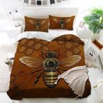 Beautiful Bee Brown Printed Bedding Set Bedroom Decor