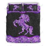 Horse Purple Paisley Printed Bedding Set Bedroom Decor 01