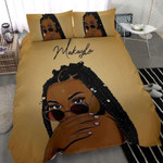 African -American Black Pretty Hair Girl Sunglasses Bedding Custom Name Comforter Set Duvet Cover Bedding Set #1806L