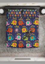Floral Elephant Pattern Printed Bedding Set Bedroom Decor 01