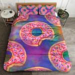 Color Pink Donut Sweet Lovers  Printed  Bedding Set Bedroom Decor