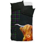 Inglis Modern Tartan Scottish Highland Cow Bedding Set JJIZK