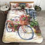 Bicycle With Basket Full Of Flower Printed Bedding Set Bedroom Decor