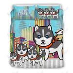 Cute Little Husky Family Printed Bedding Set Bedroom Decor 01