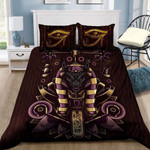 Egyptian God Anubis Bedding Custom Name Comforter Set Duvet Cover Bedding Set #H
