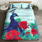 Peafowl Red Rose Printed Bedding Set Bedroom Decor