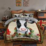 Cow Art Flower Printed Bedding Set Bedroom Decor