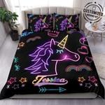 Custom Duvet Cover Personalized Led Unicorn Bedding Set WithYour Name #160420H