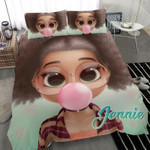 Black Doll Girl Bubble Gum Custom Name Duvet Cover Bedding Set #2307DH
