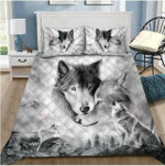 Wolf Couple Howling Pattern Printed Bedding Set Bedroom Decor