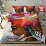Black Girl Hair Red Custom Name Duvet Cover Bedding Set #166H