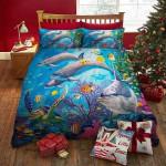 White Dolphin Printed Bedding Set Bedroom Decor 01