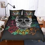 Skull Flowers Patterns Bedding Set Bedroom Decor