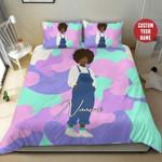 Pastel Purple Camo Afro Black Girl Custom Name Duvet Cover Bedding Set #2307?H