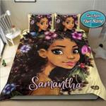 Cutest black girlAfrican with flower on hair Custom Name Duvet Cover Bedding Set #1706v