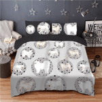 Cute White Samoyed Pattern Printed Bedding Set Bedroom Decor