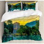 Asian Landscape Printed Bedding Set Bedroom Decor