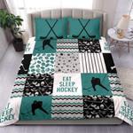 Eat SleeHockey Custom Duvet Cover Bedding Set withYour Name #84h