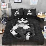 Black Baby Husky Printed Bedding Set Bedroom Decor