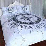 Compass On Nautical Map Printed Bedding Set Bedroom Decor 01