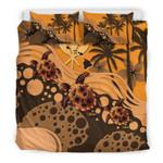 Polynesian Hawaii Orange Turtle Hibiscus A Bedding Set CAMLIZJ