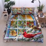 Hummingbirds Christmas Printed Bedding Set Bedroom Decor
