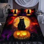 Halloween Black Cat Jack O'Lantern Duvet Cover Bedding Set
