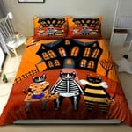 3D Black Cat Disguise On Halloween Day Cotton Bed Sheets Spread Comforter Duvet Cover Bedding Sets