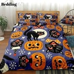 Halloween Black Cats Cotton Bed Sheets Spread Comforter Duvet Cover Bedding Sets