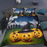 Halloween Pumpkins Witches Hat Ghost Graveyard Cotton Bed Sheets Spread Comforter Duvet Cover Bedding Sets
