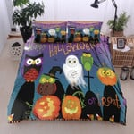 Owl Happy Halloween Trick Or Treat Cotton Bed Sheets Spread Comforter Duvet Cover Bedding Sets