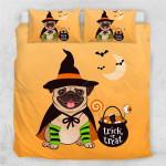 Halloween Pug Cotton Bed Sheets Spread Comforter Duvet Cover Bedding Sets
