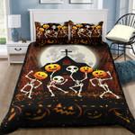 Skeleton Pumpkin Halloween Bed Sheets Spread Comforter Duvet Cover Bedding Sets