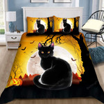 Halloween Black Cat Bed Sheets Spread Comforter Duvet Cover Bedding Sets