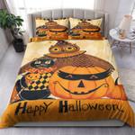 Black Cat Owl And Pumpkin Happy Halloween Bed Sheets Spread Comforter Duvet Cover Bedding Sets