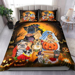 Family Dogs And Cats Halloween Bed Sheets Spread Comforter Duvet Cover Bedding Sets
