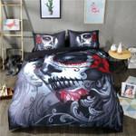 Black Flower Skull Halloween Bedding Set (Duvet Cover & Pillow Cases)