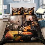 Scary Cat Halloween Bed Sheets Duvet Cover Quilt Bedding Set