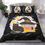 Black Cat And Witch Hat Halloween Bed Sheets Duvet Cover Quilt Bedding Set