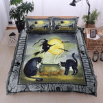 Halloween Black Cats And Witch Bed Sheets Duvet Cover Bedding Set Great Gifts For Birthday Christmas Thanksgiving
