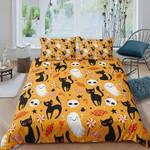 Black Cat Skull Halloween Bed Sheets Spread Comforter Duvet Cover Bedding Sets