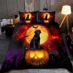 Halloween Black Labrador Dog  Bed Sheets Spread Comforter Duvet Cover Bedding Sets