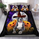 Lovely Halloween American Pitbull Terrier Cotton Bed Sheets Spread Comforter Duvet Cover Bedding Sets