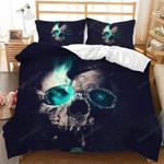 Skull Green Smoke Halloween Duvet Cover Bedding Set