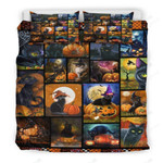 Cat And Pumpkin Halloween Bed Sheets Duvet Cover Bedding Set Great Gifts For Halloween