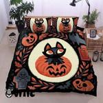 Black Cat And Pumpkins Halloween Cotton Bed Sheets Spread Comforter Duvet Cover Bedding Sets