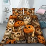 3D Halloween Owl Pumpkin Cotton Bed Sheets Spread Comforter Duvet Cover Bedding Sets