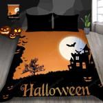 Halloween Dusk Pumpkin Bat Bed Sheets Duvet Cover Bedding Set Great Gifts For Birthday Christmas Thanksgiving
