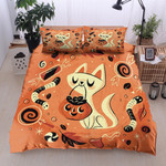 3D Cute Cat Asking For Candies On Halloween Day Cotton Bed Sheets Spread Comforter Duvet Cover Bedding Sets